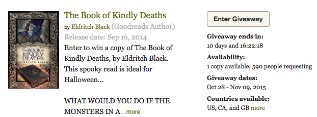A giveaway for The Book of Kindly Deaths