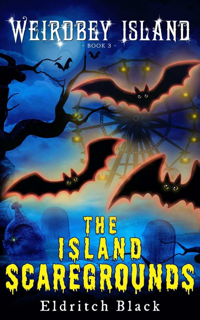 The book cover for The Island Scaregrounds